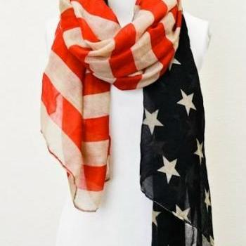Vintage American Flag Infinity Scarf Patriotic July 4th Scarves Red Tan and Blue Regular Flag Scarf Wear Regular Scarves